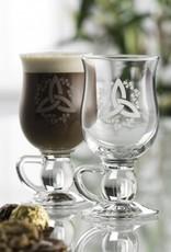 "BARWARE GALWAY CRYSTAL ""TRINITY & SHAMROCK"" COFFEE GLASSES (2)"