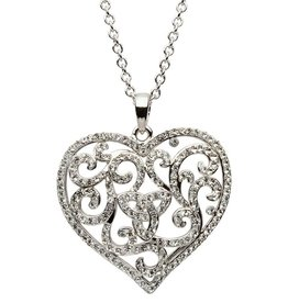PENDANTS & NECKLACES SHANORE STERLING HEART PENDANT with WHITE SWAROVSKI CRYSTALS