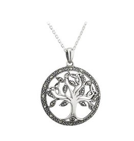 PENDANTS & NECKLACES SOLVAR STERLING & MARCASITE TREE OF LIFE PENDANT