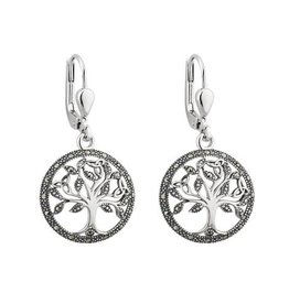 EARRINGS SOLVAR STERLING & MARCASITE TREE OF LIFE EARRINGS