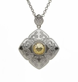 PENDANTS & NECKLACES DIAMOND SHAPED CELTIC WARRIOR PENDANT STERLING SILVER WITH 18K GOLD BEAD