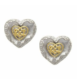 EARRINGS BORU BRUSHED STERLING & GP with HEART EARRINGS