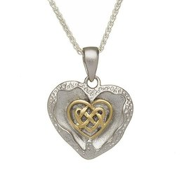 PENDANTS & NECKLACES BORU BRUSHED STERLING & GP with HEART PENDANT