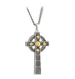 CROSSES SOLVAR STERLING LRG DOME CROSS with GOLD PLATE