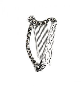 PINS & BROACHES SOLVAR STERLING & MARCASITE HARP BROOCH