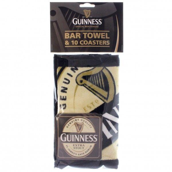 BAR GUINNESS BAR TOWEL & COASTERS SET