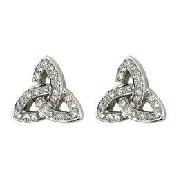EARRINGS STERLING SILVER & CZ TRINITY POST EARRINGS