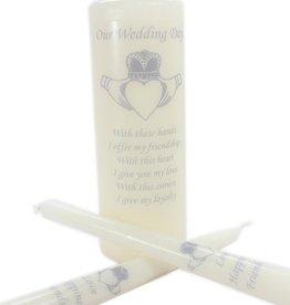 WEDDING ACCESSORIES CLADDAGH UNITY CANDLE SET - Silver