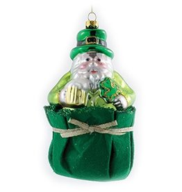 ORNAMENTS IRISH SANTA IN BAG ORNAMENT