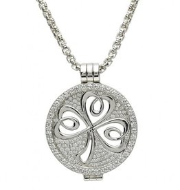 PENDANTS & NECKLACES STERLING SILVER EXPRESSIONS SPARKLING SHAMROCK CZ COIN