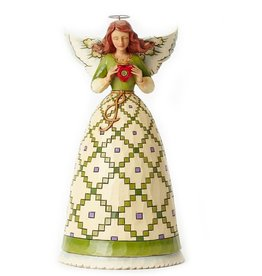 ANGELS JIM SHORE - IRISH ANGEL HOLDING HEART LRG