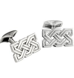 MENS JEWELRY SOLVAR RHODIUM PLATE CELTIC KNOT CUFFLINKS