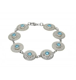 BRACELETS & BANGLES BORU STERLING WARRIOR BRACELET with SWISS BLUE & CLEAR CZs