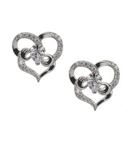 EARRINGS BORU STERLING HEART SHAPED CLADDAGH EARRINGS with CZs