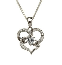 PENDANTS & NECKLACES BORU STERLING HEART SHAPED CLADDAGH PENDANT with CZs