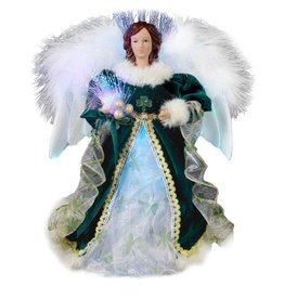 ANGELS FIBER OPTIC LED FEATHER ANGEL TREE TOPPER