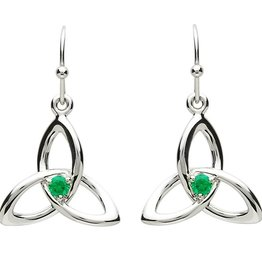 EARRINGS PlatinumWare TRINITY KNOT with GREEN CZ EARRINGS