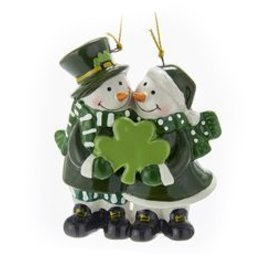 ORNAMENTS IRISH SNOWMAN COUPLE ORNAMENT