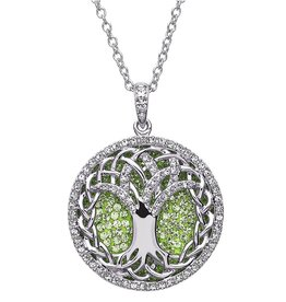 PENDANTS & NECKLACES STERLING SILVER PERIDOT TREE OF LIFE PENDANT with SWAROVSKI CRYSTALS