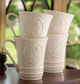 KITCHEN & ACCESSORIES SET OF 4 BELLEEK SHAMROCK CRAFT MUGS