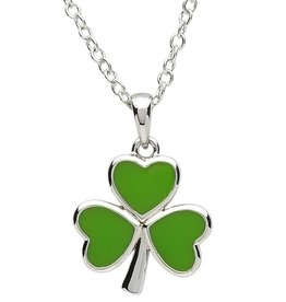 PENDANTS & NECKLACES PlatinumWare GREEN ENAMEL SHAMROCK PENDANT