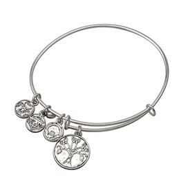 BRACELETS & BANGLES SOLVAR SILVER TONE TREE OF LIFE CHARM BANGLE