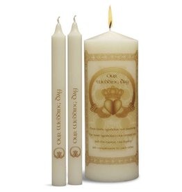 WEDDING ACCESSORIES CLADDAGH UNITY CANDLE SET - GOLD