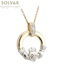 PENDANTS & NECKLACES SOLVAR 14K CLADDAGH PENDANT with DIAMONDS