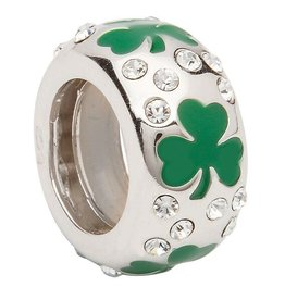 BEADS ORIGINS SOLID SHAMROCK BEAD with SWAROVSKI CRYSTAL