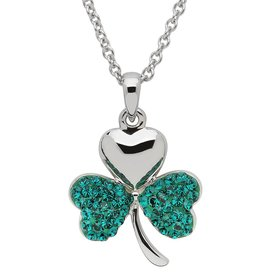PENDANTS & NECKLACES STERLING SILVER GREEN SHAMROCK PENDANT with SWAROVSKI CRYSTALS