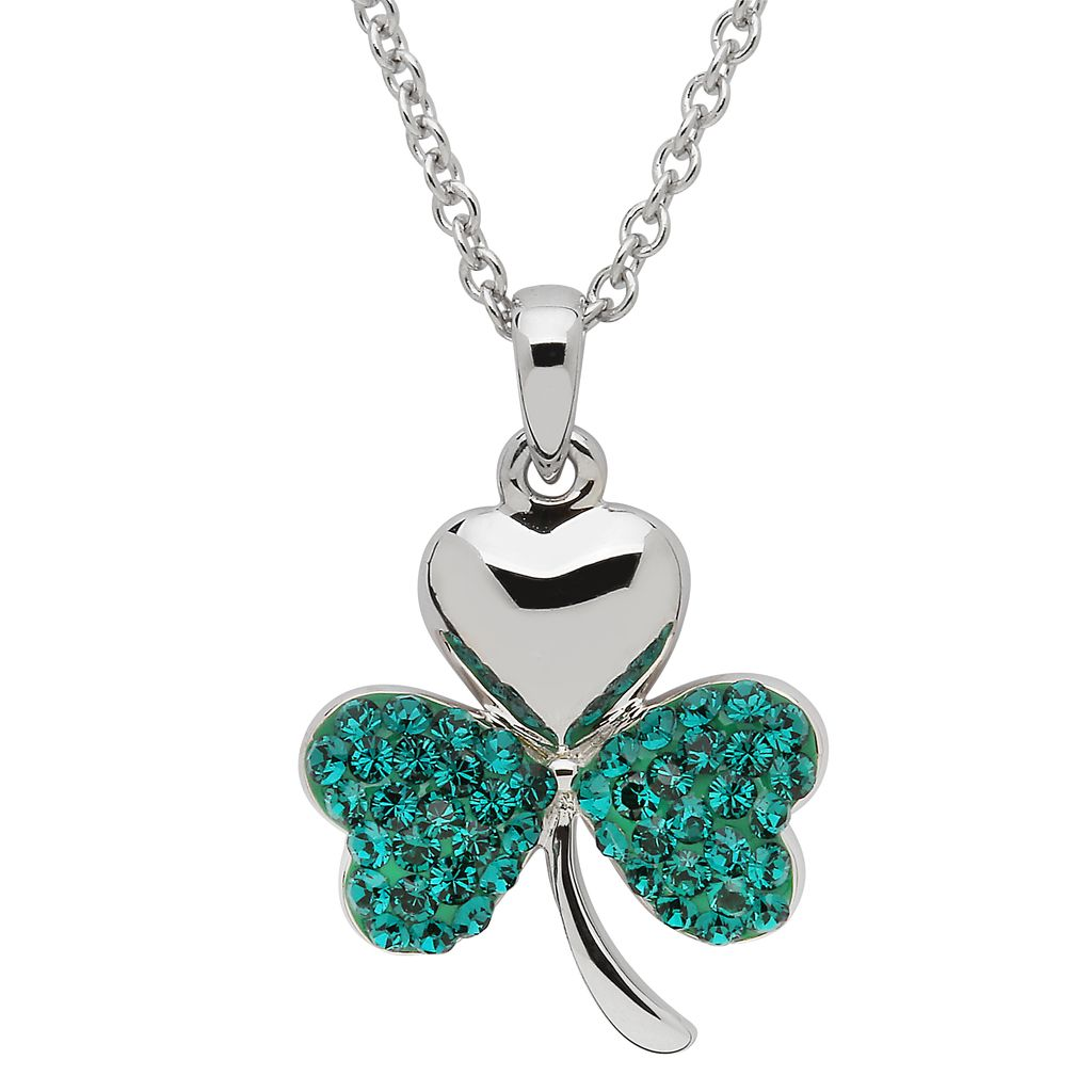 pendants necklaces sterling silver green shamrock