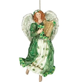 ANGELS IRISH ANGEL with HARP ORNAMENT