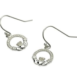 EARRINGS CLEARANCE - STERLING PAVE CLADDAGH EARRINGS - FINAL SALE