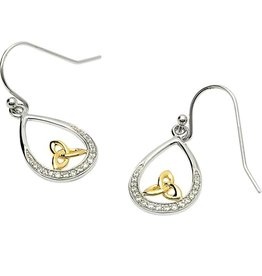 EARRINGS STERLING SILVER PAVE SET EARRINGS WITH GOLD PLATED TRINITY