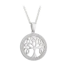 PENDANTS & NECKLACES SOLVAR STERLING with CZ TREE OF LIFE PENDANT