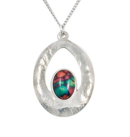 PENDANTS & NECKLACES HEATHERGEM TEXTURED OVAL PENDANT