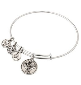BRACELETS & BANGLES SOLVAR SILVER TONE CELTIC CROSS CHARM BANGLE