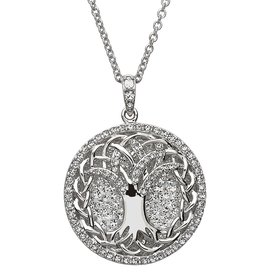 PENDANTS & NECKLACES STERLING SILVER WHITE TREE OF LIFE PENDANT with SWAROVSKI CRYSTALS