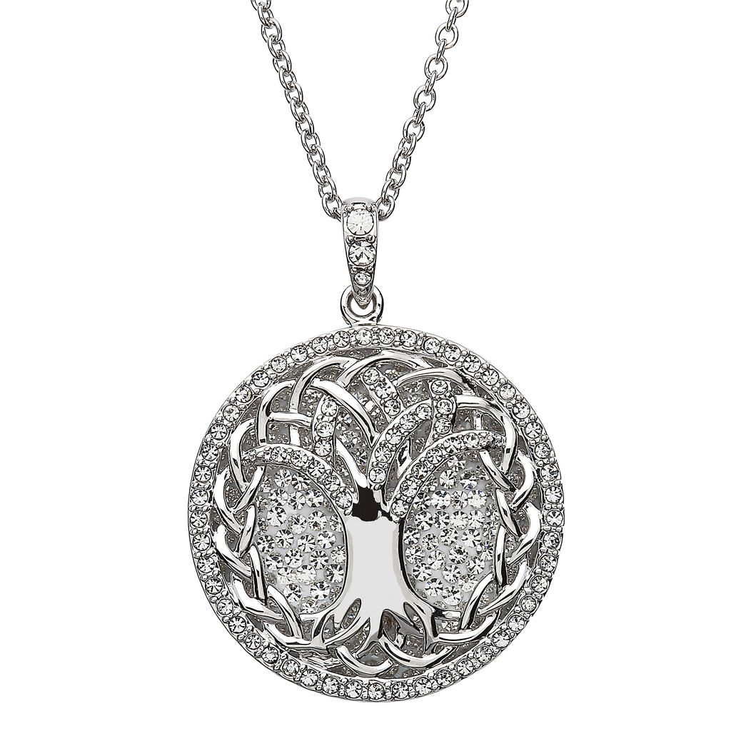 Pendants necklaces sterling silver white tree of life pendant with pendants necklaces sterling silver white tree of life pendant with swarovski crystals mozeypictures Image collections