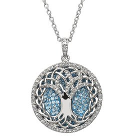 PENDANTS & NECKLACES STERLING SILVER AQUAMARINE TREE OF LIFE PENDANT with SWAROVSKI CRYSTALS