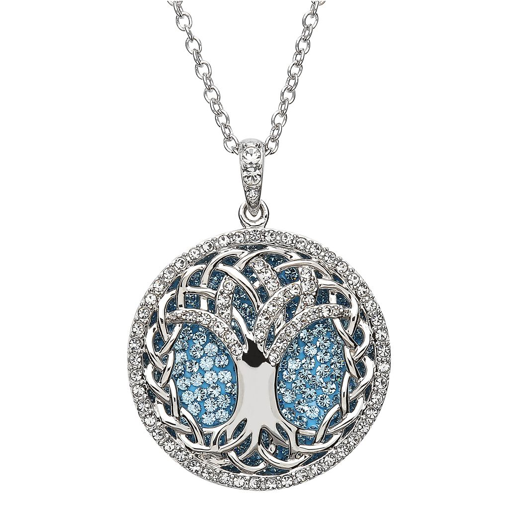 Pendants necklaces sterling silver aquamarine tree of life pendants necklaces sterling silver aquamarine tree of life pendant with swarovski crystals mozeypictures Gallery