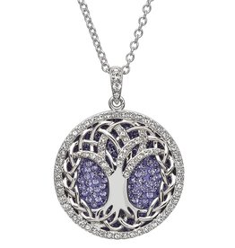 PENDANTS & NECKLACES STERLING SILVER TANZANITE TREE OF LIFE PENDANT with SWAROVSKI CRYSTALS