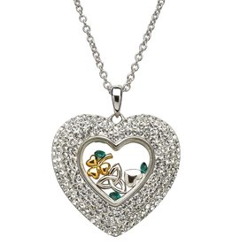 PENDANTS & NECKLACES STERLING SILVER HEART WHITE PENDANT with SWAROVSKI CRYSTALS