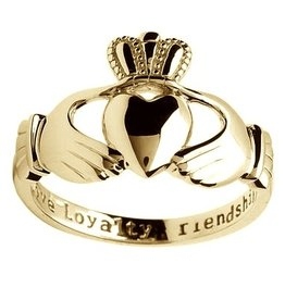 RINGS GENTS INSCRIBED HEAVY 10K CLADDAGH RING