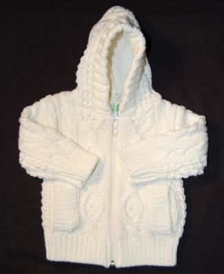 BABY CLOTHES HOODED WHITE ZIPPER SWEATER