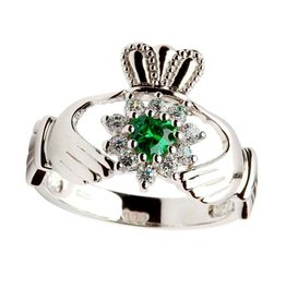 RINGS STONE SET STERLING SILVER CLADDAGH RING