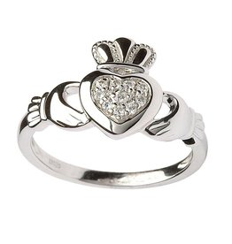 RINGS STERLING SILVER PAVE CZ CLADDAGH RING