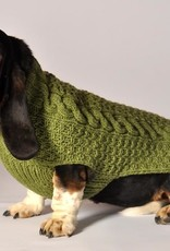 COLLARS & LEASHES GREEN CABLE HAND KNIT DOG SWEATER