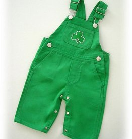 BABY CLOTHES SHORT LEG OVERALLS WITH SHAMROCK