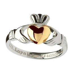 RINGS SILVER & 10K INSCRIBED CLADDAGH RING